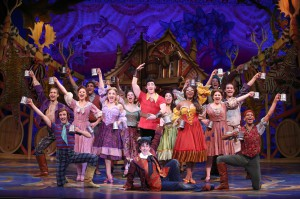 Matt Farcher as Gaston and the cast of Disney's Beauty and the Beast.  Photo by Joan Marcus